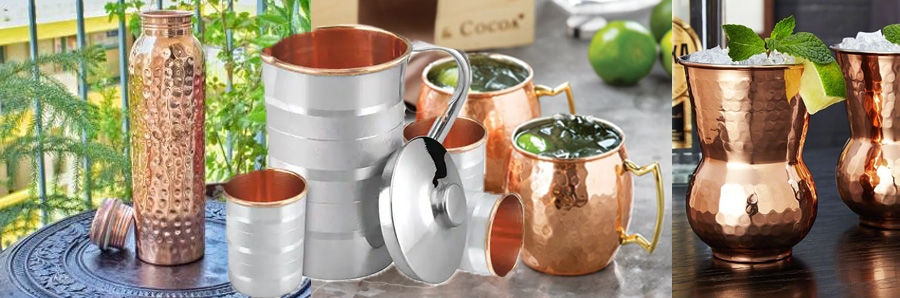 Copper Water Bottles, Jug and Glasses