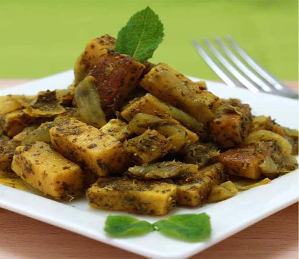 Paneer in a Green Sauce