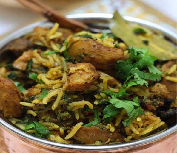 Pepper Chicken and Spinach Biryani