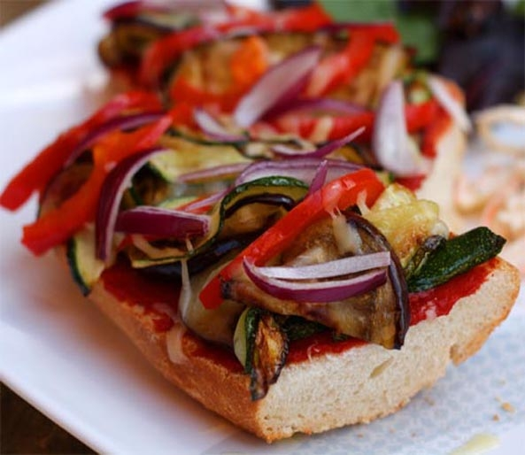 Pizza Baguette with Courgette and Aubergine